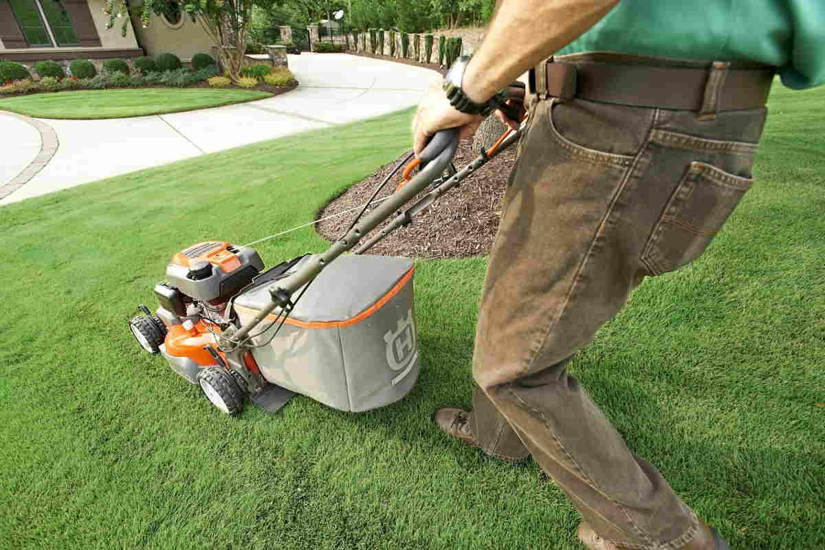 Gardener grass cutting - example of our garden services derby