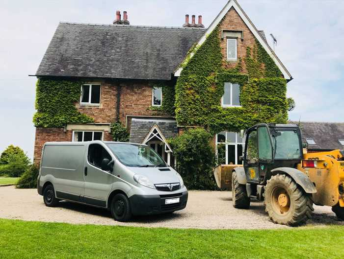 Maintenance Service Van and Tractor in front of business - Landscape Maintenance Service in Derby - Commercial Property Maintenance