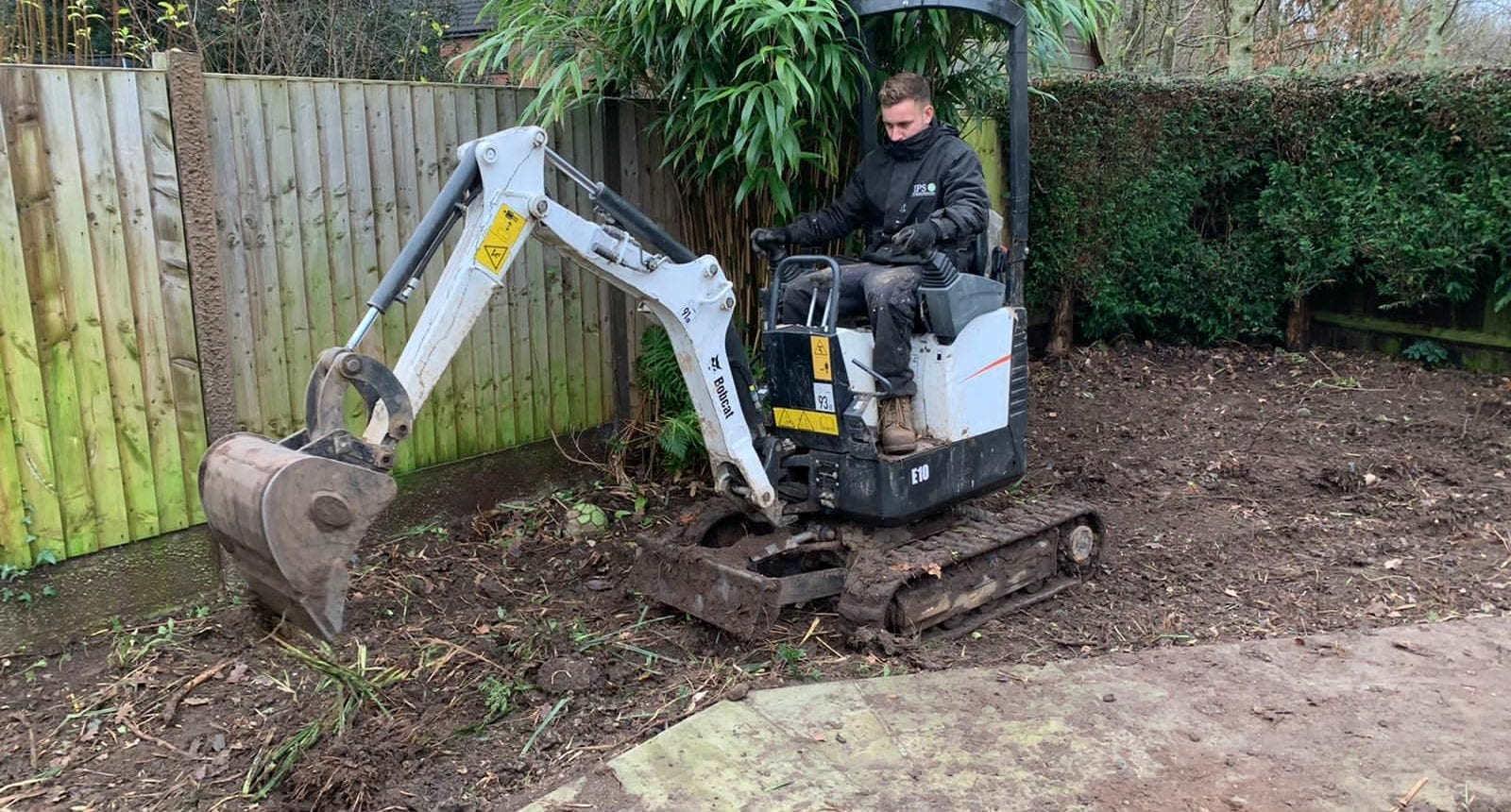 Mini Digger Hire Burton on Trent Mini digger clearing Garden