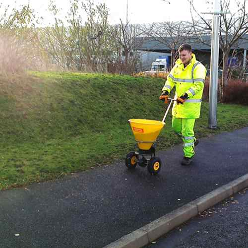 Winter Gritting Service in Derby and Burton on Trent - Commercial Path Being Gritted